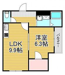 フジパレス弥刀駅東 3階1LDKの間取り