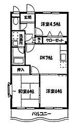 神奈川県大和市深見の賃貸マンションの間取り