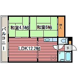 エンドレス三井西岡[4階]の間取り