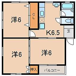 福島県福島市野田町7丁目の賃貸アパートの間取り