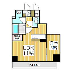 ラ・リジエール大門 4階1LDKの間取り