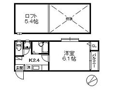 ポラリス愛宕II・初期費用8万円以内・[103号号室]の間取り