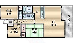 和マンション 4階3LDKの間取り