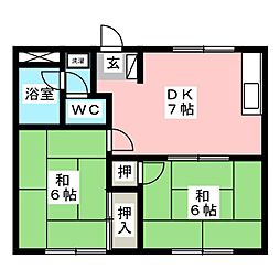 フラワーハイツ[2階]の間取り