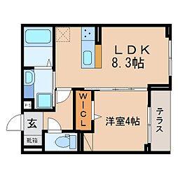 JR東海道本線 静岡駅 徒歩11分の賃貸アパート 1階1LDKの間取り