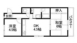 ルミナス桂川[4階]の間取り