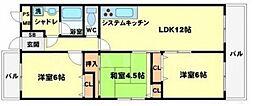 大阪府豊中市若竹町2丁目の賃貸マンションの間取り