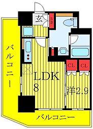 パークアクシス大塚ステーションゲートタワー 13階1LDKの間取り