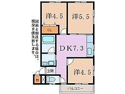 静岡県駿東郡清水町八幡の賃貸アパートの間取り