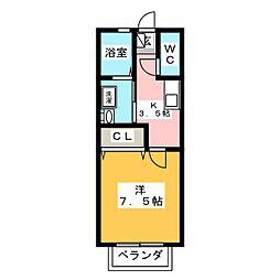 シャトーリ幸田[2階]の間取り