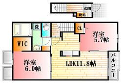 亀山1丁目アパートA 2階2LDKの間取り
