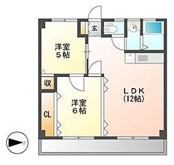 やまぶきマンション[6階]の間取り