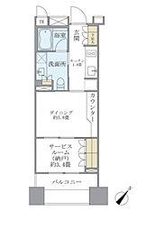 東京メトロ日比谷線 東銀座駅 徒歩2分の賃貸マンション 4階1DKの間取り