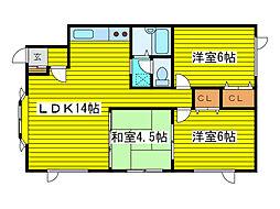 北海道札幌市東区北二十四条東22丁目の賃貸アパートの間取り