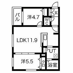 CITY RESIDENCE(シティレジデンス)幌平橋 4階2LDKの間取り