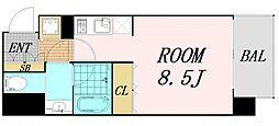 ファーストステージ福島パークサイド 4階ワンルームの間取り