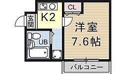 御陵シャトー朝日[203号室号室]の間取り