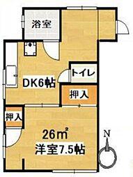東京都世田谷区北沢3丁目の賃貸アパートの間取り