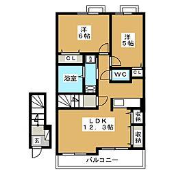 静岡県富士宮市宮原の賃貸アパートの間取り
