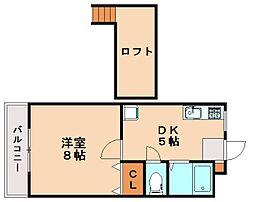 福岡県太宰府市石坂1丁目の賃貸アパートの間取り