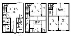 [一戸建] 大阪府八尾市安中町5丁目 の賃貸【/】の間取り