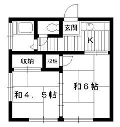 東京都中野区江古田1丁目の賃貸アパートの間取り