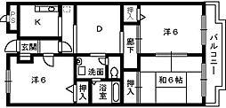 大阪府高石市加茂3丁目の賃貸マンションの間取り