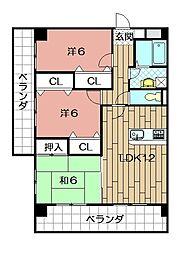 三島マンション[307号室]の間取り
