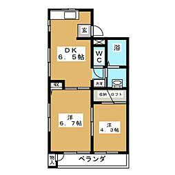 サンパルK・K[2階]の間取り
