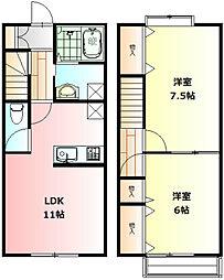 [テラスハウス] 神奈川県秦野市今泉 の賃貸【/】の間取り