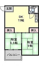 山口マンション[3A号室号室]の間取り