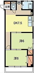 山崎マンション[401号室]の間取り