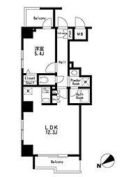 築地明石町デュープレックスリズ[12階号室]の間取り