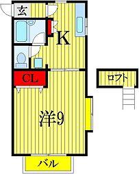 千葉県船橋市二宮1丁目の賃貸アパートの間取り