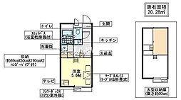 岡山県岡山市東区西大寺浜丁目なしの賃貸アパートの間取り