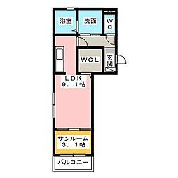 ルチェーレ龍禅寺[2階]の間取り