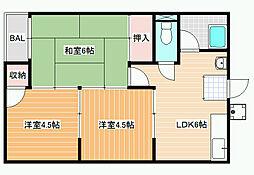 クワタマンション[3階]の間取り