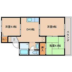 奈良県奈良市五条3丁目の賃貸アパートの間取り