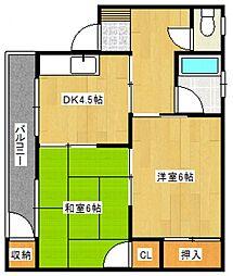 萩アパート[1階]の間取り