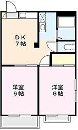 カーサ鈴木II[3階]の間取り