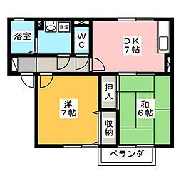 サンハイム撫川 B棟[2階]の間取り
