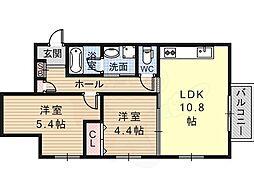 近鉄南大阪線 河内松原駅 徒歩10分の賃貸マンション 1階2LDKの間取り