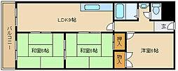 第3カシノハイツ[3階]の間取り