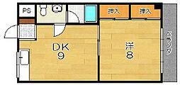 ハイツオクモト[3階]の間取り