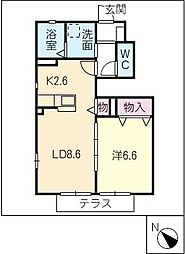 サンガーデン江島 B棟[1階]の間取り