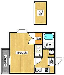 京都府京都市北区上賀茂狭間町の賃貸アパートの間取り