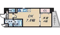 レジデンス南桜塚 3階1DKの間取り
