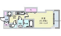 JR大阪環状線 芦原橋駅 徒歩4分の賃貸マンション 3階1Kの間取り
