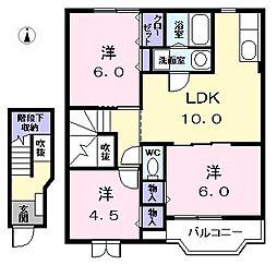 愛知県あま市本郷郷中の賃貸アパートの間取り