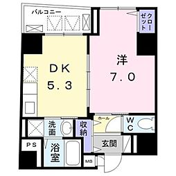 東京メトロ銀座線 末広町駅 徒歩5分の賃貸マンション 6階1DKの間取り